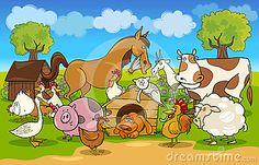 Cartoon rural scene with farm animals