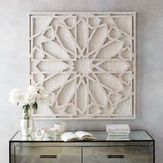 Think big. Inspired by geometric stone carvings, this grand Whitewashed Wood Wall Art adds pattern and texture to spaces in need of some drama.