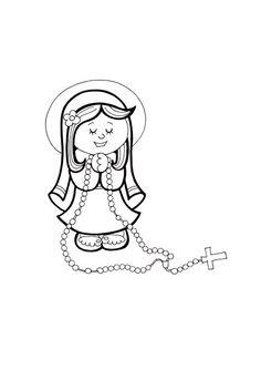 Virgen Del Santo Rosario Para Colorear
