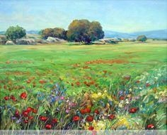 paisaje de primavera con encinas