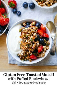 Healthy Gluten Free Puffed Buckwheat Toasted Muesli by Nourish Everyday - easy to make, dairy free and refined sugar free! Nutritious Breakfast, Healthy Breakfast Recipes, Brunch Recipes, Alkaline Breakfast, Breakfast Menu, Toasted Muesli Recipe, Gluten Free Recipes, Vegan Recipes, Fodmap Recipes