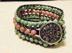 Turquoise and Rhodonite Bracelet Valentine's by sofiv on Etsy, $45.00