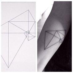 Thin line geometric fibonacci tattoo