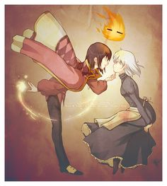 Howl's Moving Castle Fan Art: Seriously, the BEST HMC pic EVER! Howl Sophie Calcifer this is really awesome hayao miyazaki studio ghibli Film Animation Japonais, Animation Film, Hayao Miyazaki, M Anime, Anime Love, Howl And Sophie, Studio Ghibli Movies, Castle In The Sky, Film D'animation