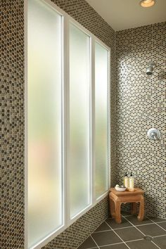 DESIGN TIPS: In the bathroom shower, obscure glass offers privacy while letting in light. Bathroom Window Privacy, Bathroom Windows, Glass Bathroom, Bathroom Ideas, Bathroom Designs, Master Bathroom, Bathroom Renovations, Home Remodeling, Home Improvement Financing