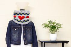 Be My RGB Valentine Hand Knitted Cowl Neck by JinniInTheLamp, $38.50