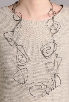 Necklace | Amy Logan. 'Large Swirl'. Oxidised silver
