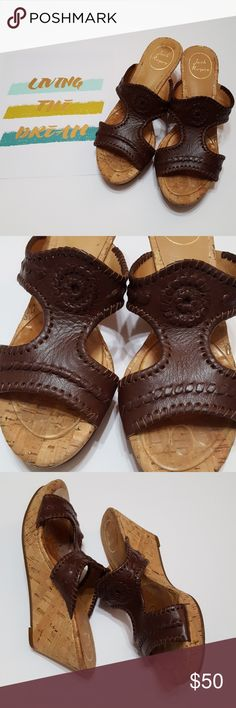 """Jack Rogers Emilia cognac wedges Jack Rogers Emilia cognac shoes with metallic fleck cork wedges, iconic discs, whipstitching, leather uppers, 3"""" heel. Has Dr Scholls ball of foot pads in, can be removed. Jack Rogers Shoes Wedges"""