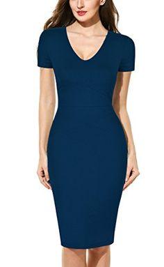 1f57a44952 Mmondschein Women Short Sleeve Striped Wear To Work Business Pencil Dress  (L