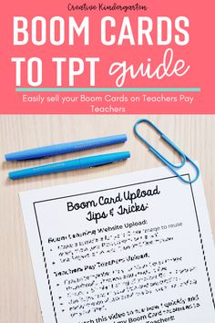 This guide will help you quickly and easily upload your Boom Cards to your Teachers Pay Teachers store.This document outlines how to get your Boom Card sets ready to upload to Teachers Pay Teachers. Find tips and tricks to make the upload fast and easy. #boomcards #teacherspayteachers #teacherseller #creativekindergarten Teacher Cards, Teacher Pay Teachers, Emergency Sub Plans, Classroom Hacks, What Activities, Kindergarten Classroom, Outlines, Digital, Store