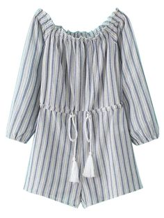 Buy Blue Off Shoulder Stripe Long Sleeve Tie Waist Romper Playsuit from abaday.com, FREE shipping Worldwide - Fashion Clothing, Latest Street Fashion At Abaday.com