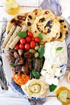 Greek mezze platter with feta & meatballs