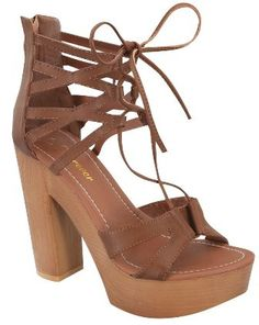Lace Up Platform Ankle Sandal - Tan