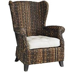 Just got a pair of these for the bedroom.  LOVE THEM.  Wingback chair design, but in an amazing woven design with great texture and mixed colors of brown.  Paired with a cream seat cushion and a foo-foo girly-girl cream flower petal pillow.