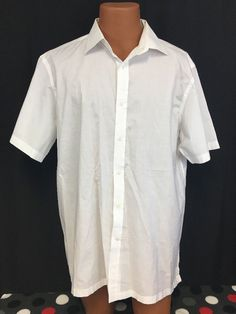 Hart Schaffner Marx Shirt XL Men's White Turkey Cotton Crisp Summer Casual HSM #HartSchaffnerMarx #ButtonFront