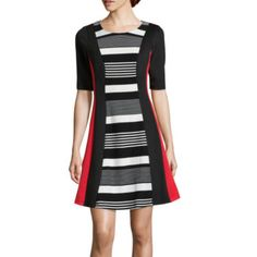 $40 jcp | Robbie Bee® Elbow-Sleeve Stripe Fit-and-Flare Dress