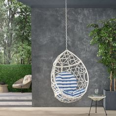 15 Small Balcony Furniture Pieces You Must Know - Foter Egg Swing Chair, Hanging Hammock Chair, Hammock Stand, Swinging Chair, Small Balcony Furniture, Woven Chair, Small Cushions, Backyard Projects, Porch Swing