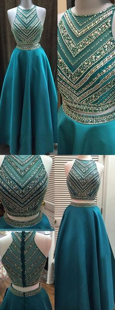 Beaded prom dress,Prom dress 2016,Two-pieces prom dress,Satin prom dress,Long Prom dress,Elegant Prom dress,