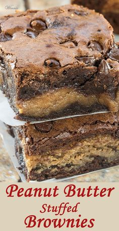 The most delicious treat - Peanut Butter Stuffed Brownies.http://www.winnish.net/2015/07/7210/