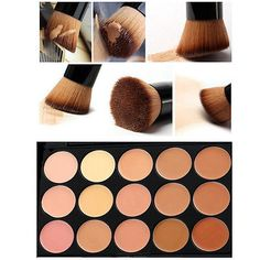 New 15 Colors Face Contour Cream  Makeup Concealer Palette Kit With Brush