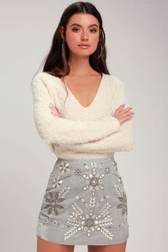2bb1e0de Bright Lights Grey Velvet Beaded Mini Skirt Silver Sequin, Gold Sequins,  Gold Beads,