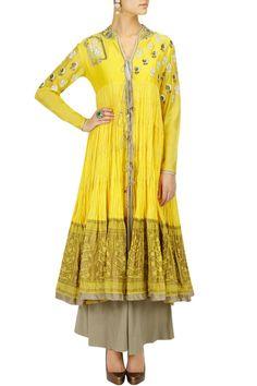 Yellow embroidered jacket anarkali set BY ANJU MODI.