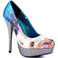 Womens Iron Fist Unicornopia Unicorn Glitter Platform Heel Shoes Dark Navy