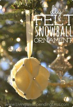 DIY Felt Snowball Ornament - Living Well Spending Less™ #felt #ornament #diyornament #christmasdecorations