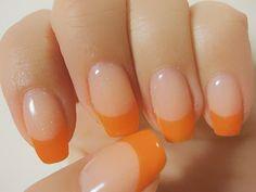 orange french nail