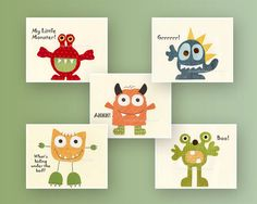 Monster Nursery Wall Art: Baby Nursery Decor, Kids Room Decor, Kids Room Monsters Wall Art, Set Of 5 Prints Blue green Yellow Orange Re