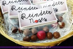 Bags of Reindeer Noses | Christmas Party Favors | The Purple Pumpkin Blog