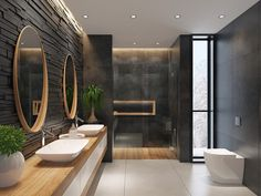 Spa Inspired Bathroom, Spa Like Bathroom, Bathroom Black, Small Bathroom, Bathroom Showers, Dark Bathrooms, Dream Bathrooms, Contemporary Bathrooms, Bad Styling
