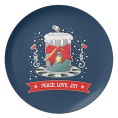 Peace, Love, Joy. Fun Christmas Candle Design Christmas Gift Melamine Plates. Matching cards, postage stamps and other products available in the Christmas & New Year Category of the Mairin Studio store at zazzle.com