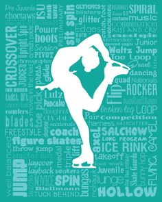 """Original artwork using words to describe """"FIGURE SKATER"""" -- Dress up a room in your home with this sports-themed print that details the many words for all things figure skating with words like choctaw, salchow, toe pick, sit spin, and more. Come visit the Lexicon Delight Etsy store!"""