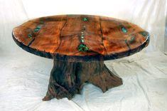 Image detail for -... Rustic Western, Stump Base with Turquoise Inlay - Dining Room Table