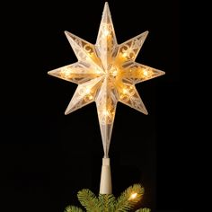 "National Tree TA21-11LSW-1 11"" Bethlehem Star Tree Topper with 10 Warm White LED Bulbs"