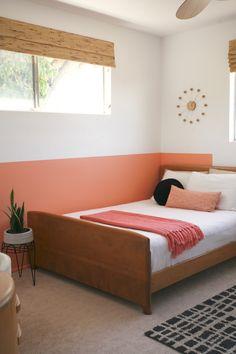 colorblock color block blocked colorblocked interior room coral pink peach black white diy behr sunset strip kid bedroom girl
