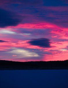 Dramatic sky on polar night season. Lapland, Finland