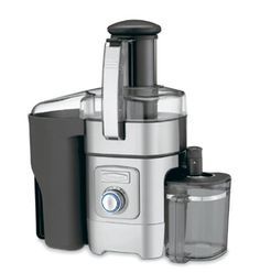 #5 Cuisinart CJE-1000 - This centrifugal type juicer is equipped with a powerful 1000-watt motor and five adjustable speeds. The control dial, featuring a blue LED light ring, provides a smooth transition giving you total control over your juicing speed. Not only was the design of this high quality juicer intended to be sleek and sophisticated, but also it was specifically designed to effectively juice soft and hard produce alike.