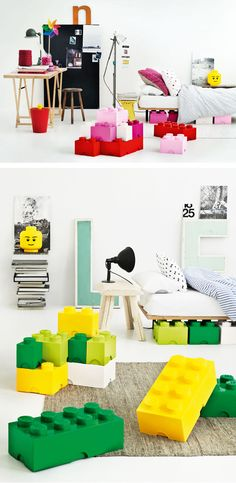 Oh why didn't they have these when my kids were little? Lego storage boxes!