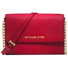 Pre-owned Michael Kors Nwot Smart Phone Chili/gold Cross Body Bag ($129) ❤ liked on Polyvore featuring bags, handbags, shoulder bags, purses, bolsas, accessories, red crossbody, crossbody purses, red handbags and cross-body handbag