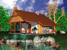 Budynek oparty na rzucie kwadratu zawiera wiele wypróbowanych rozwiązań małych domów rekreacyjnych.