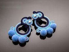Blue navy blue Soutache earrings with Swarovski pearl.