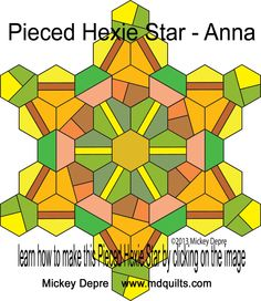 PDF for Pieced Hexie Star - ANNA created by Mickey Depre uses designs found in Pieced Hexies book Mickey Depre, Hexies, Pattern,