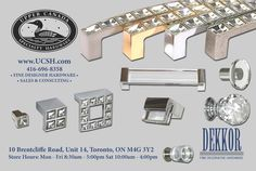 Upper Canada Specialty Hardware is excited to be partnering with Dekkor Hardware in Reno & Décor Magazine! Dekkor has beautiful products that will add beauty and class to any home. Store Hours, Hardware, The Unit, Canada, Magazine, Accessories, Design, Beauty, Beautiful