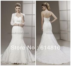 Cheap gown beaded, Buy Quality gown picture directly from China gowns for big women Suppliers: Wholesale -2013 Sweetheart Lace Long Sleeve Mermaid Wedding Dresses Gown With Jacket VS2203Why Choose Babyonline Dress ?