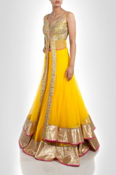 oh so #Gorgeous Yellow & Gold #Lehenga Ensemble with Gota Embroidery