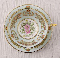 Turquoise Paragon Commemorative Coronation Tea Cup and Saucer, Queen Elizabeth…