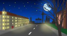 Berlin bei Nacht mit Moho 12 gezeichnet (früher Anime Studio). Anleitung zum nachzeichnen im Blog-Post!