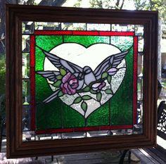 LOVE DOVES IN HEART STAINED GLASS PANEL WINDOW ART SUNCATCHER SOLID WOOD FRAME #HANDCRAFTEDBYSELLER
